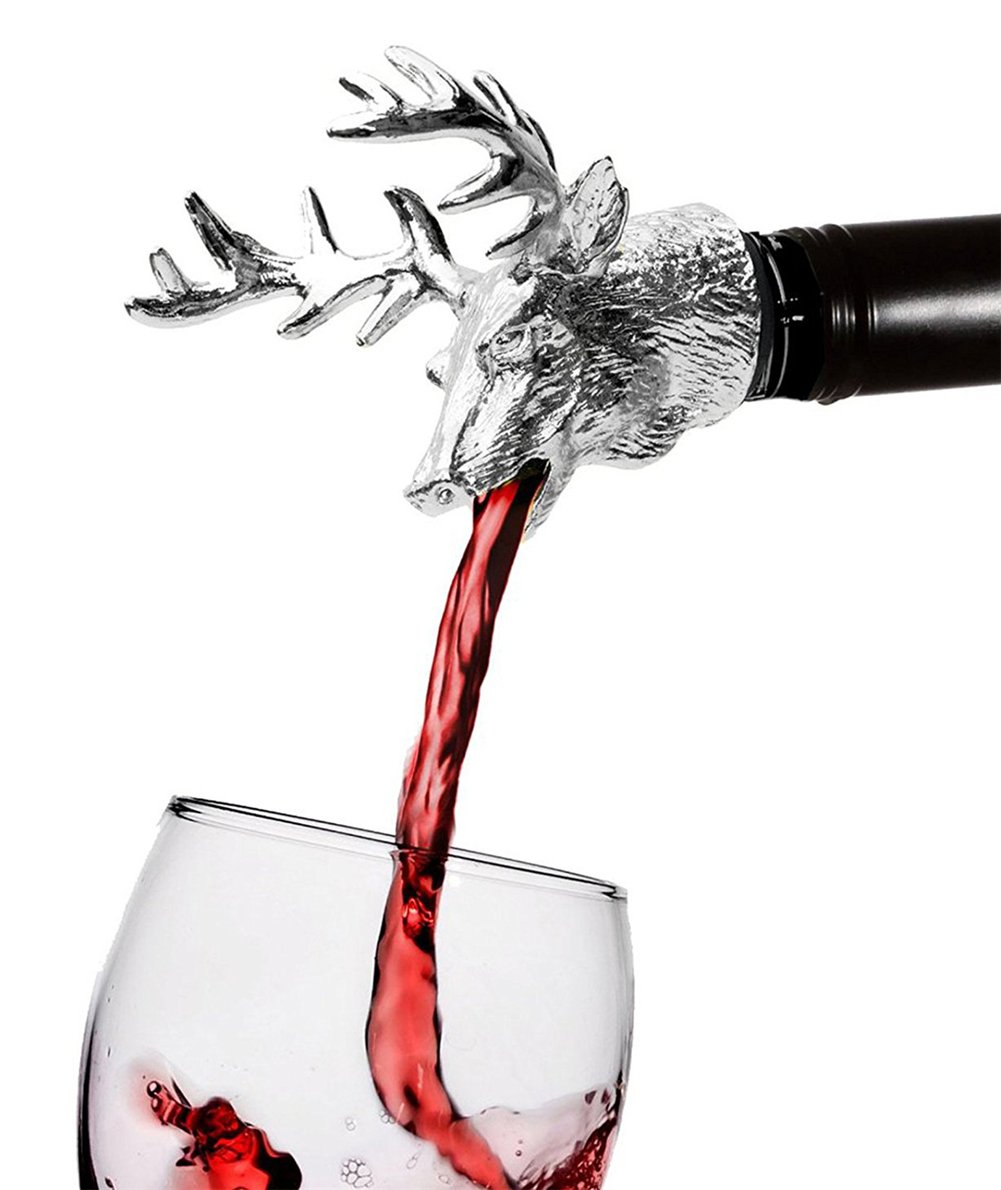 FREEMASTER Wine Pourer and Stopper Wine Aerators Stainless Deer Stag Head Wine Pourer Stags Head Bottle Stopper (Silver white) by Freemaster