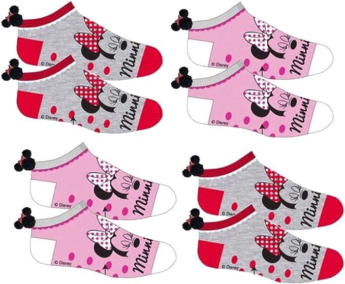 Disney Socks and Underwear - Calcetines - para niña Pack de 4 Paires Tiges Courtes Minnie avec Abs 23/26 EU: Amazon.es: Ropa y accesorios