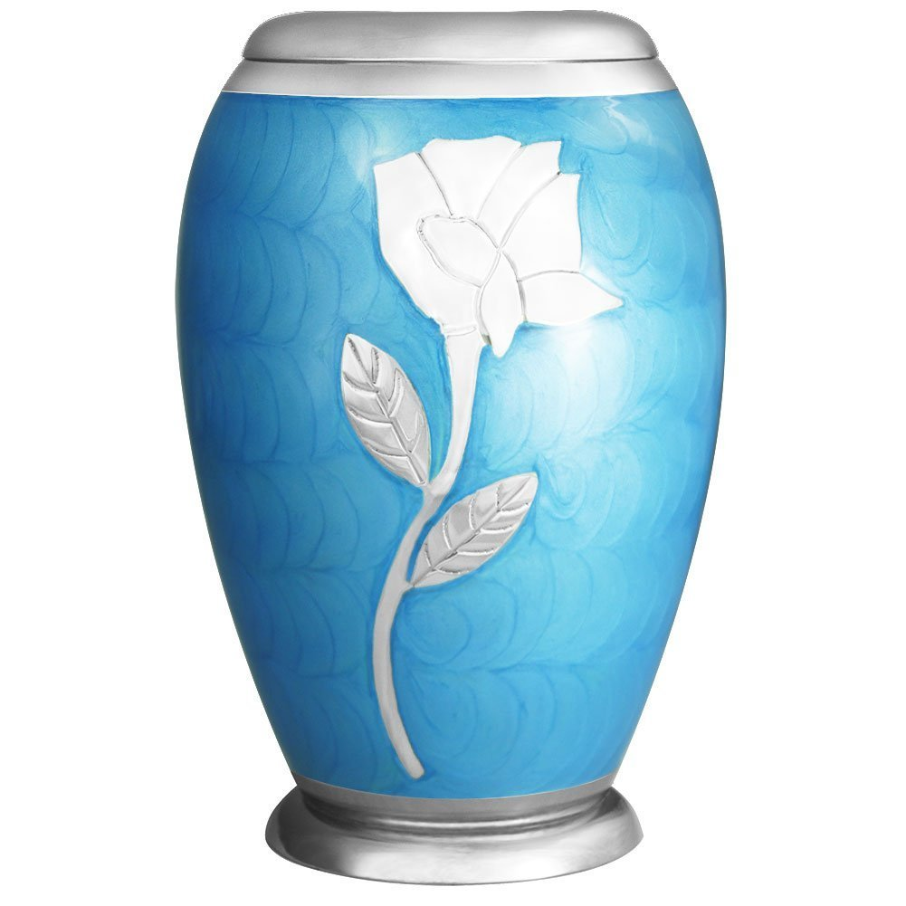 Meilinxu - Ascot Blue WIth Silvery Rose Cremation Urn for Human Ashes and Memorial Urns - Adult Funeral Urn Handcrafted and Engraved - Affordable Urn for Ashes - Brass Large Burial Urn Deal Meilinxu Memorials CR-MLX-2899L