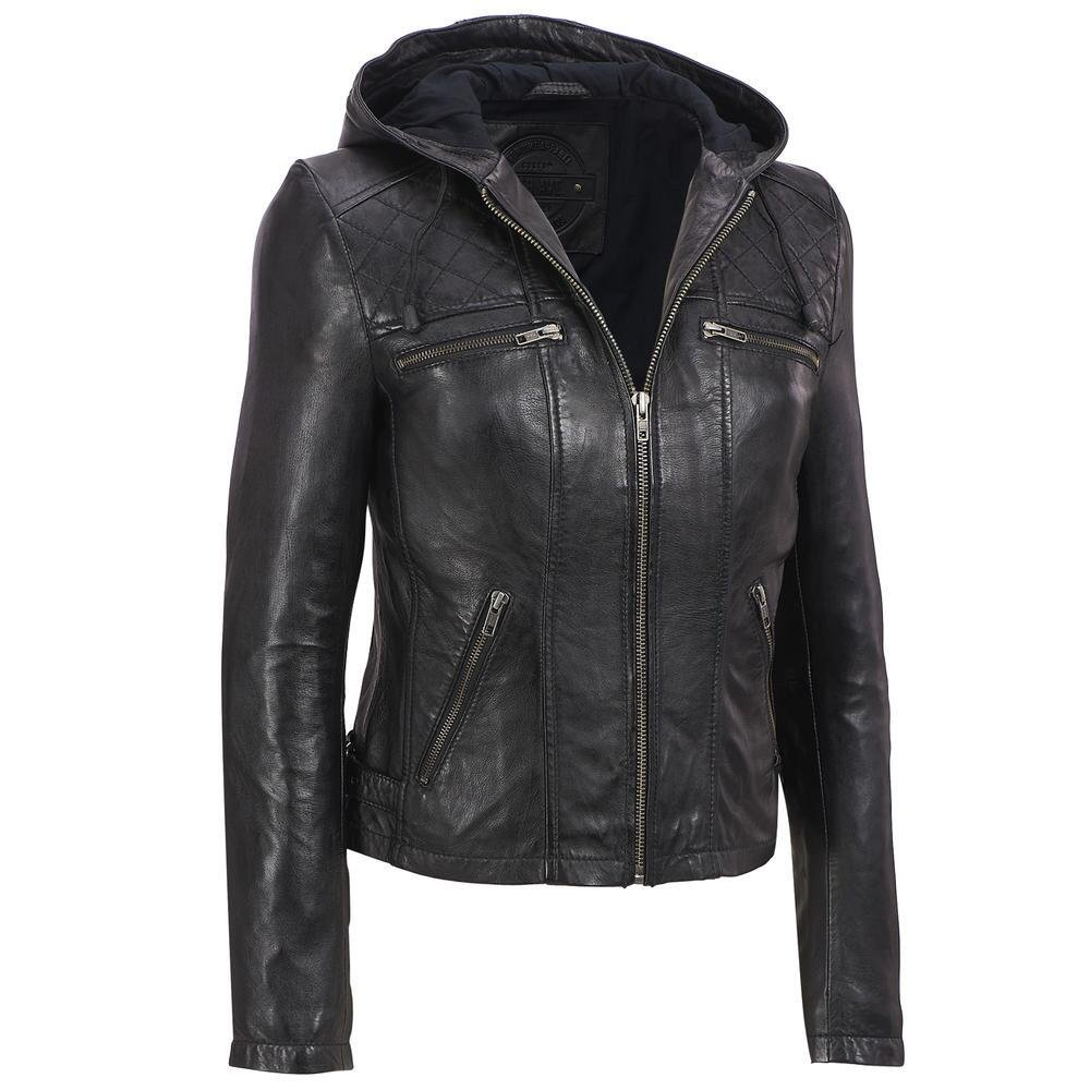 Wilsons Leather Womens Web Buster Lamb Cycle Jacket W/ Diamond Quilt And Hood M