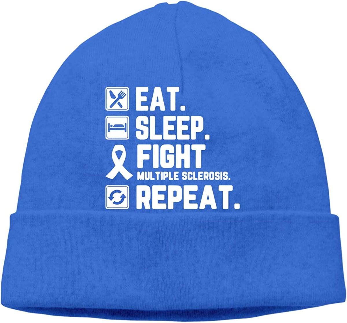 COLLJL8 Men//Women Eat Sleep Fight Multiple Sclerosis Awareness Repeat Outdoor Fashion Beanies Hat Soft Winter Knit Caps