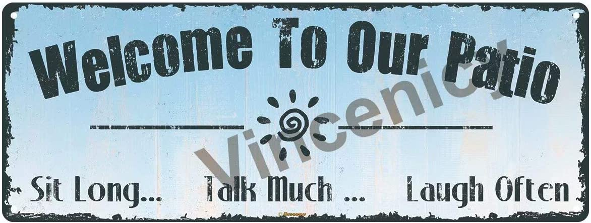 """Vincenicy Welcome to Our Patio Sign 16""""x6"""" Metal Tin Sign, Outdoor Living, Rustic Decor, Bar, Man Cave,Wall Decoration"""