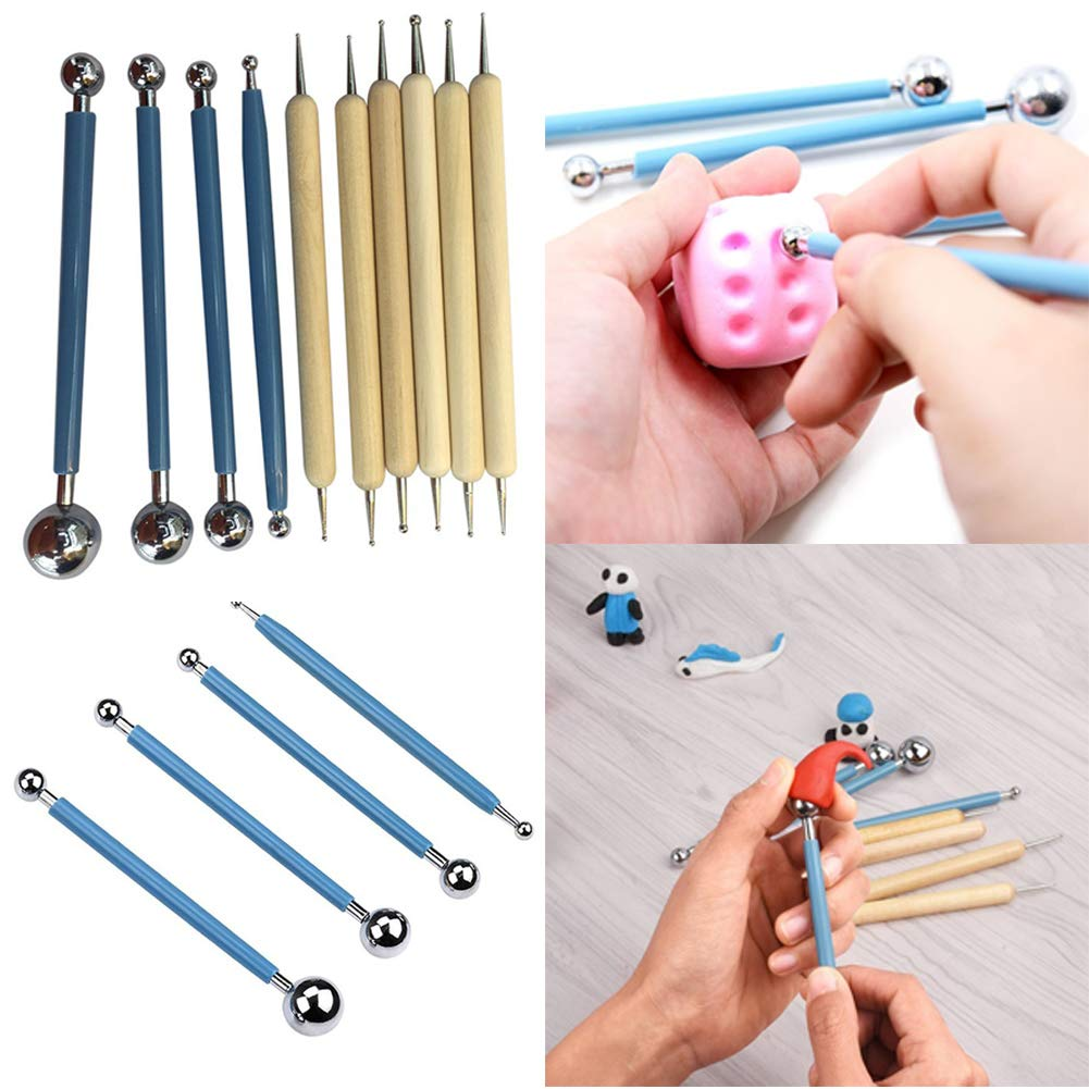 Pen Pottery Clay Multifunction Embossing Tools for Paper,10pcs Ball Stylus Dotting Modeling Tools Clay Ceramics Pottery Carving Tool Embossing Sculpting Set for Mandala Rock Painting