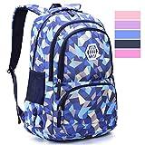 Geometric Backpack Primary School Book Bag for Girls Boys 8-12 Years Old, Uniuooi Waterproof Travel Rucksack Kids Satchel (Navy Blue)