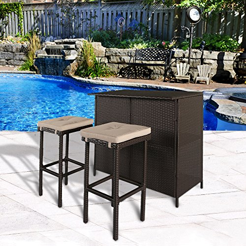Cloud Mountain 3 PC Patio Bar Set Outdoor Garden Backyard Rattan Bar Table 2 Stools Barstool Furniture Set, Light Brown Cushion by Cloud Mountain