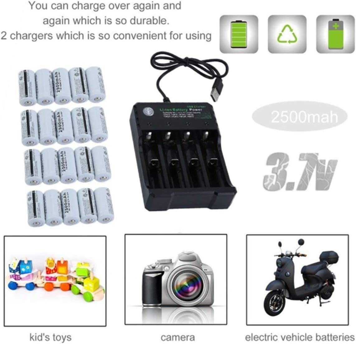Wiederaufladbare Batterien Kit f/ür Netgear Arlo /Überwachungskamera 20 Akku-Pack