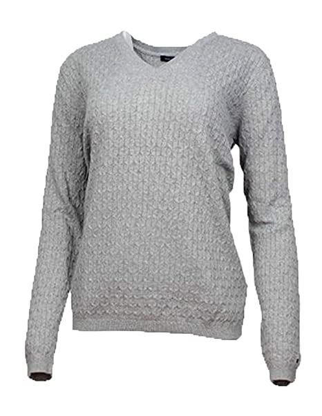 062e2056 Tommy Hilfiger Women's V-Neck Knit Sweater (Heather Grey, X-Large) at  Amazon Women's Clothing store: