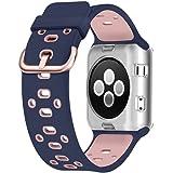 アップルウォッチ バンド UMTELE Apple watch カバー スポーツ シリコンバンド ケース付き 交換バンド 柔らか Series 3/2/1(42mm,ブルー+ピンク)