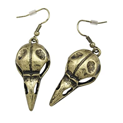 Q&Q Fashion Vintage Silver Plated Skull Bird Crow Raven Gothic Punk Emo Steampunk Dangle Earrings OfzQZIN
