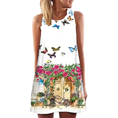 NREALY Womens Vintage Boho Summer Sleeveless Beach Printed Short Mini Dress Vestido(S, a_White