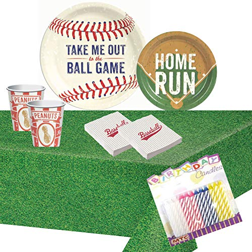 Baseball Time Party Supplies Pack: Plates Napkins Cups and Table Cover with Birthday -