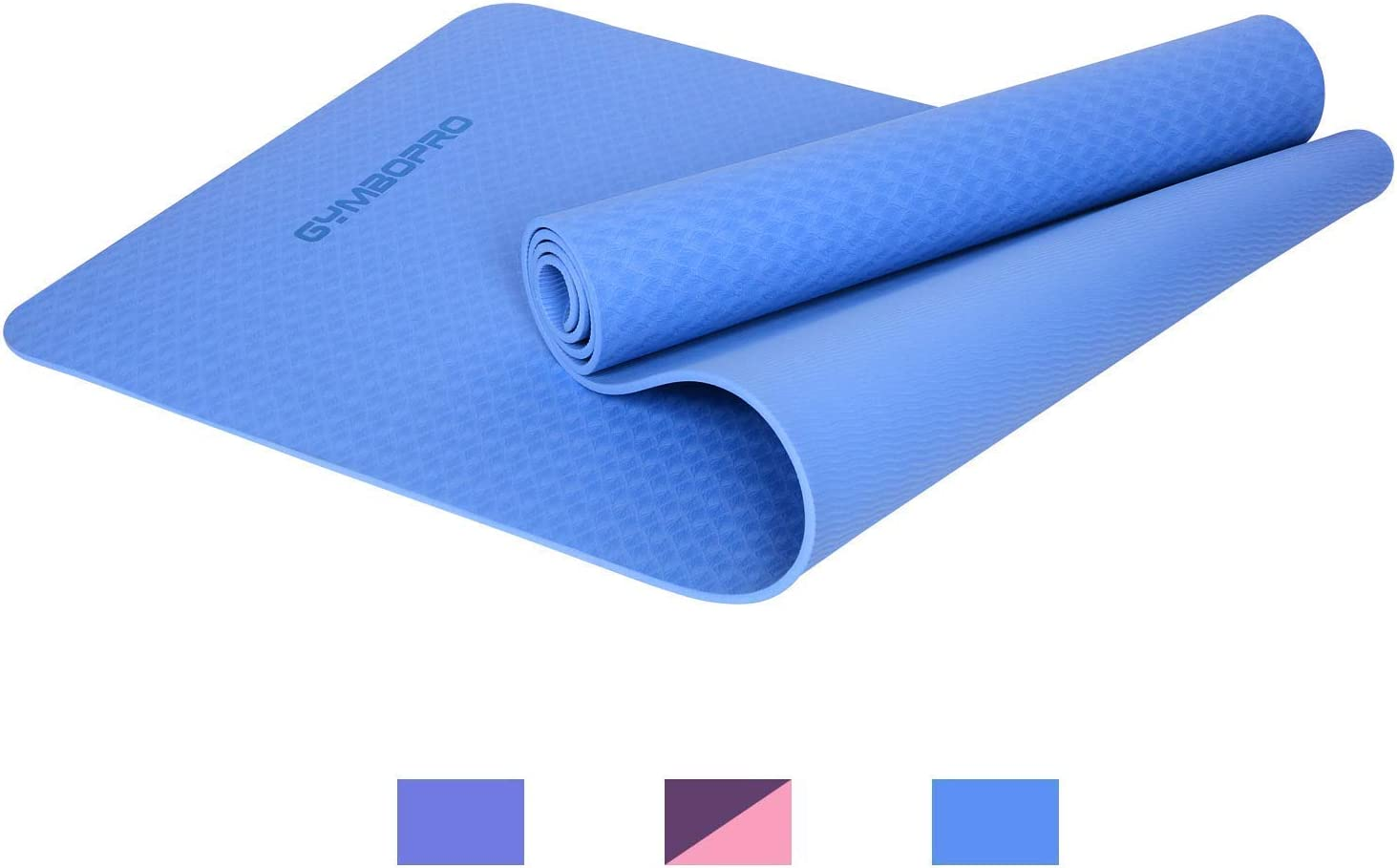 GYMBOPRO Yoga Mat Premium Quality 6mm Thick High Density Eco Friendly Anti-Slip TPE Exercise Mat for Yoga, Pilates,Fitness & Workout
