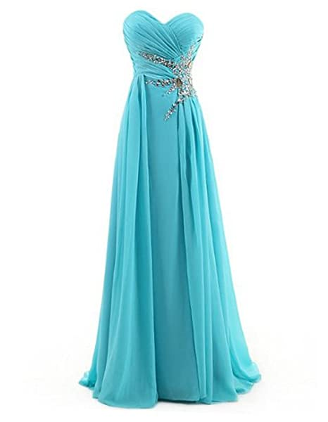 DRESSTELLS Sweetheart Beading Floor-Length Chiffon Prom Dress Evening Gown Blue Size 6