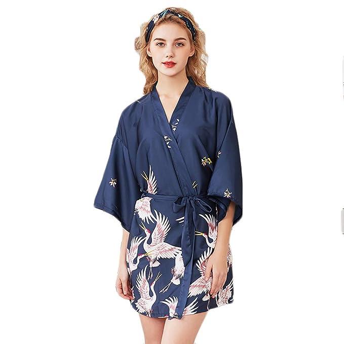 Kimono Batas de Casa Cortos Mujer con Cuello en V de la Noche Ropa ...