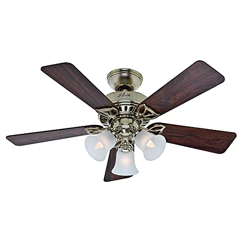 Hunter 53080 The Beacon Hill 42-Inch Ceiling Fan with Five Rosewood Medium Oak Blades and Light Kit, Bright Brass