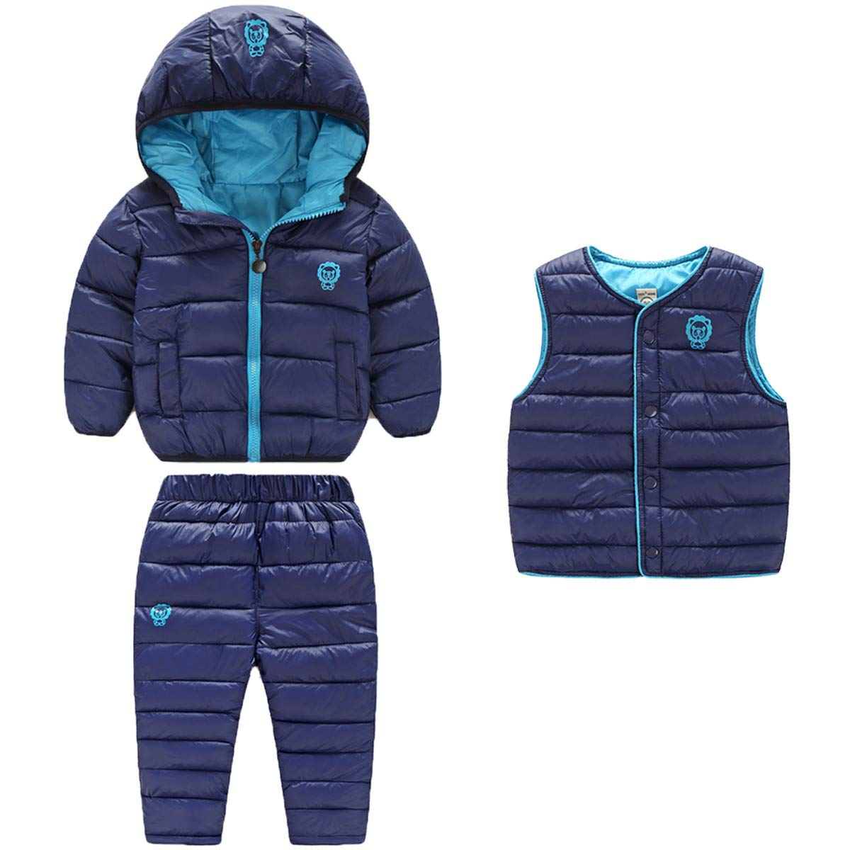 3 Piece Baby Boys Girls Windproof Winter Warm Down Jacket+Ski Pants+Vest Outfit Cotton-Padded Snowsuits Set 2-3 Years Dark Blue by REWANGOING