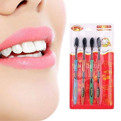 4 cepillos de dientes de bambú ultrasuave, cuidado bucal para las encías sensibles