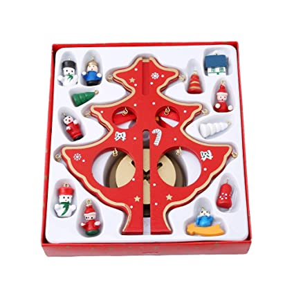 hs mini wooden tabletop christmas tree with miniature christmas ornaments christmas decorations 1pc s - Miniature Christmas Decorations