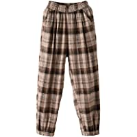 Minibee Women's Cropped Harem Pants Elastic Waist Pull On Plaid Baggy Trousers with Pockets