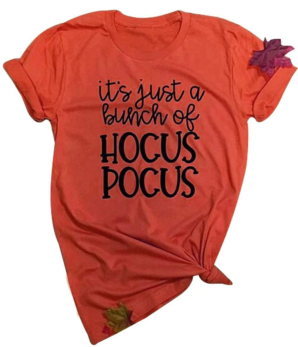 NANYUAYA Women's It's Just A Bunch of Hocus Pocus Letter Print Halloween Tees Top