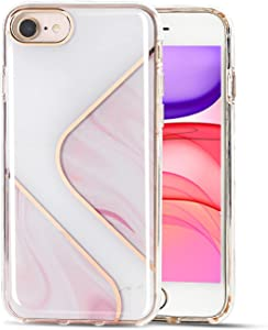 Auwylian for iPhone SE 2020 Case/iPhone 7 Case/iPhone 8 Case for Girls Women, Stylish Cute Bling Shiny Glossy Marble Hard Plastic Back Soft Clear TPU Edge Shockproof Case for iPhone SE 2020-Pink/White