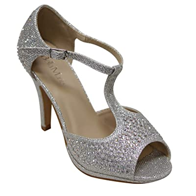 Bella Marie Shania-11 Women's peep Toe Rhinestone Glitter T- Strap Dance Sandals | Heeled Sandals