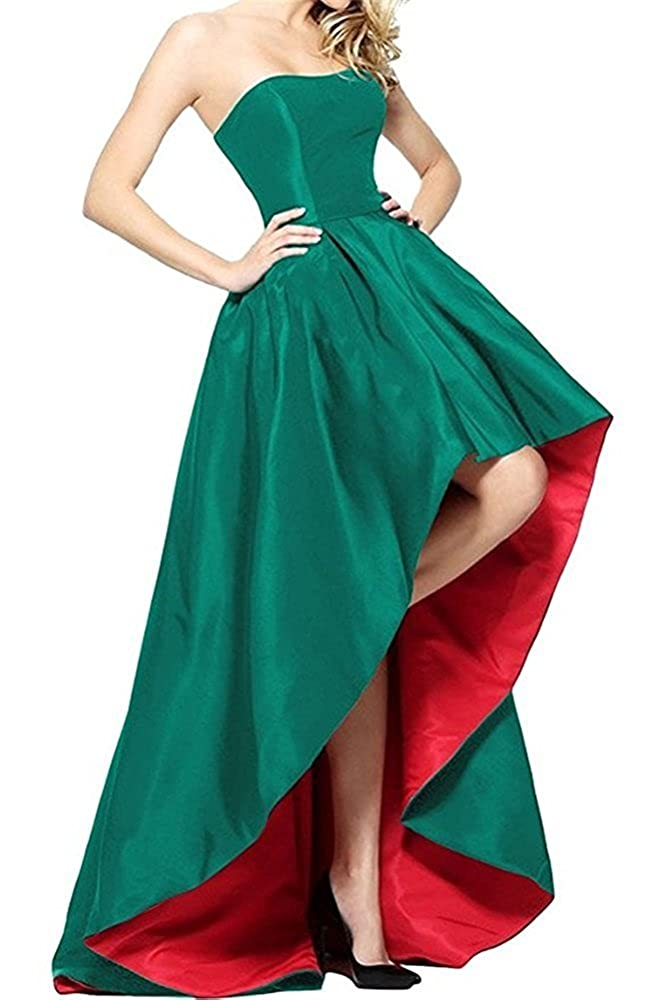 Green and Red Tutu Vivi Womens Strapless Prom Ball Gowns Satin Formal Evening Party Dresses High