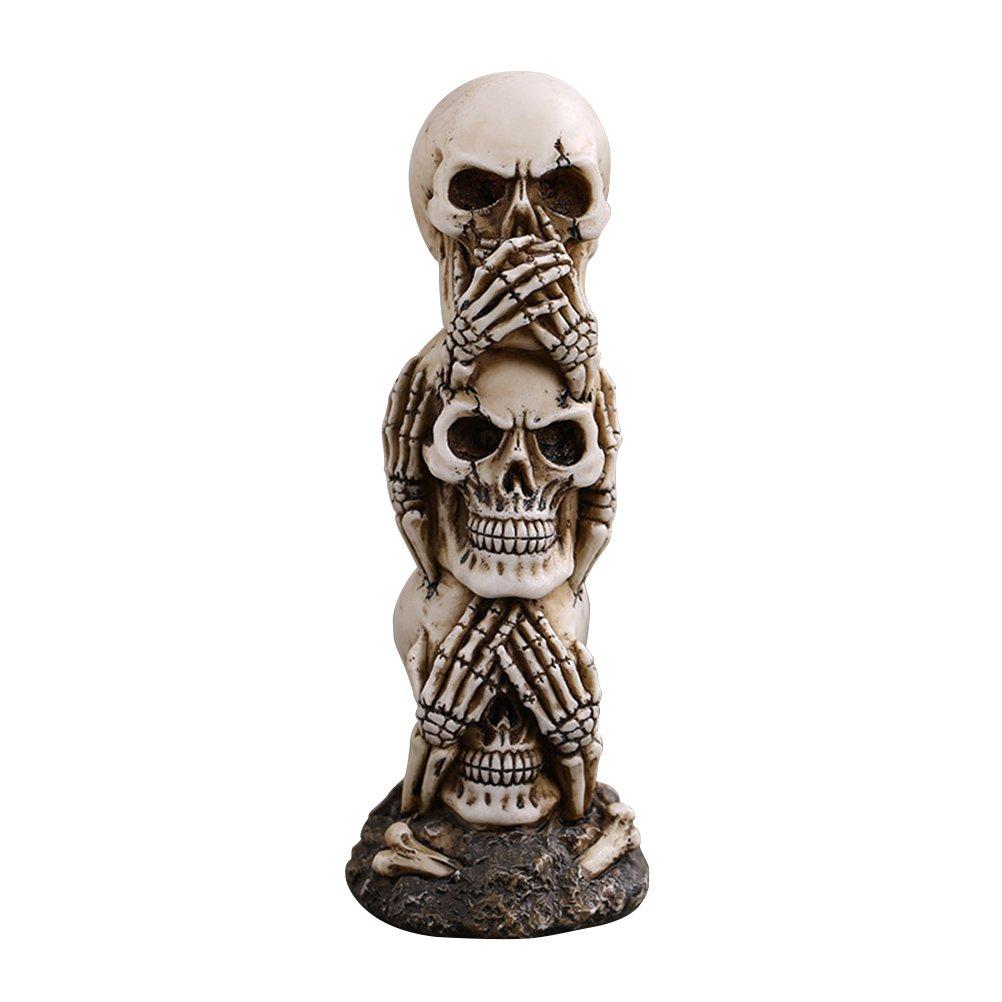 BESTOYARD Hear-no See-no Speak-no Evil Skull Statue Sculpture Figure Skeleton Stacked Skulls for Halloween Decoration Skull Collection