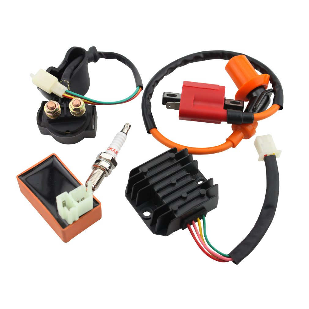 GOOFIT AC Racing Ignition Coil 6 Pin CDI Voltage Regulator Rectifier Solenoid Relay for CG 125cc 150cc Vertical Engine ATV Quad Go Kart by GOOFIT