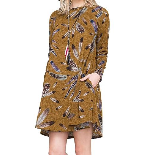 Juleya Mujeres Elegantes Vestidos Cortos - Vestido Casual para Mujer Vestido de Pullover de Manga Larga Pluma Patrón Túnica Jumper con 2 Bolsillos Amarillo ...