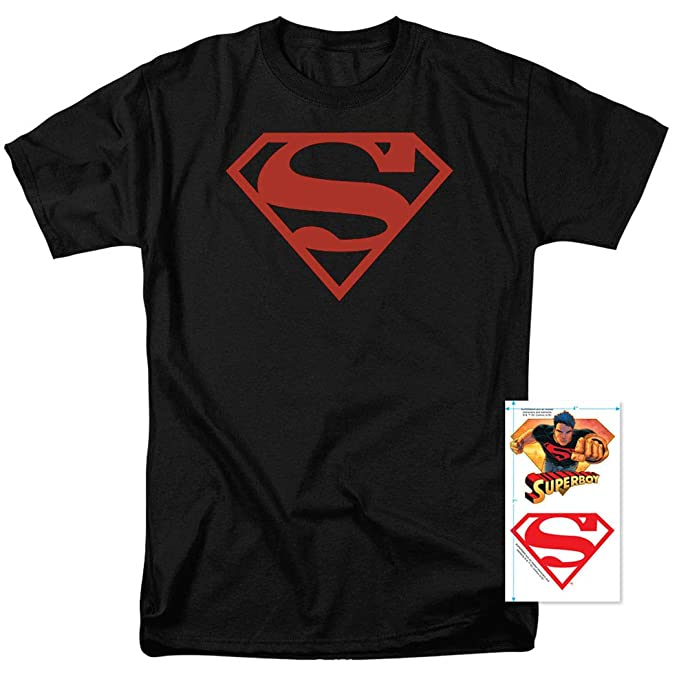 09bae98e Amazon.com: DC Comics Superboy Superman Logo T Shirt & Stickers ...