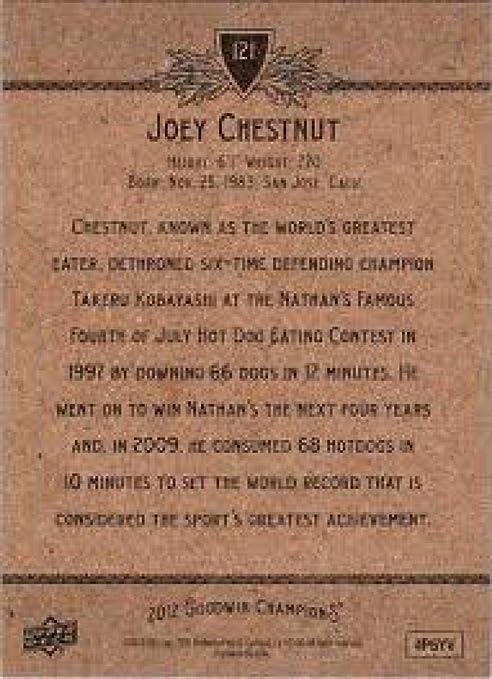 2012 Upper Deck Goodwin Champions Joey Chestnut #121