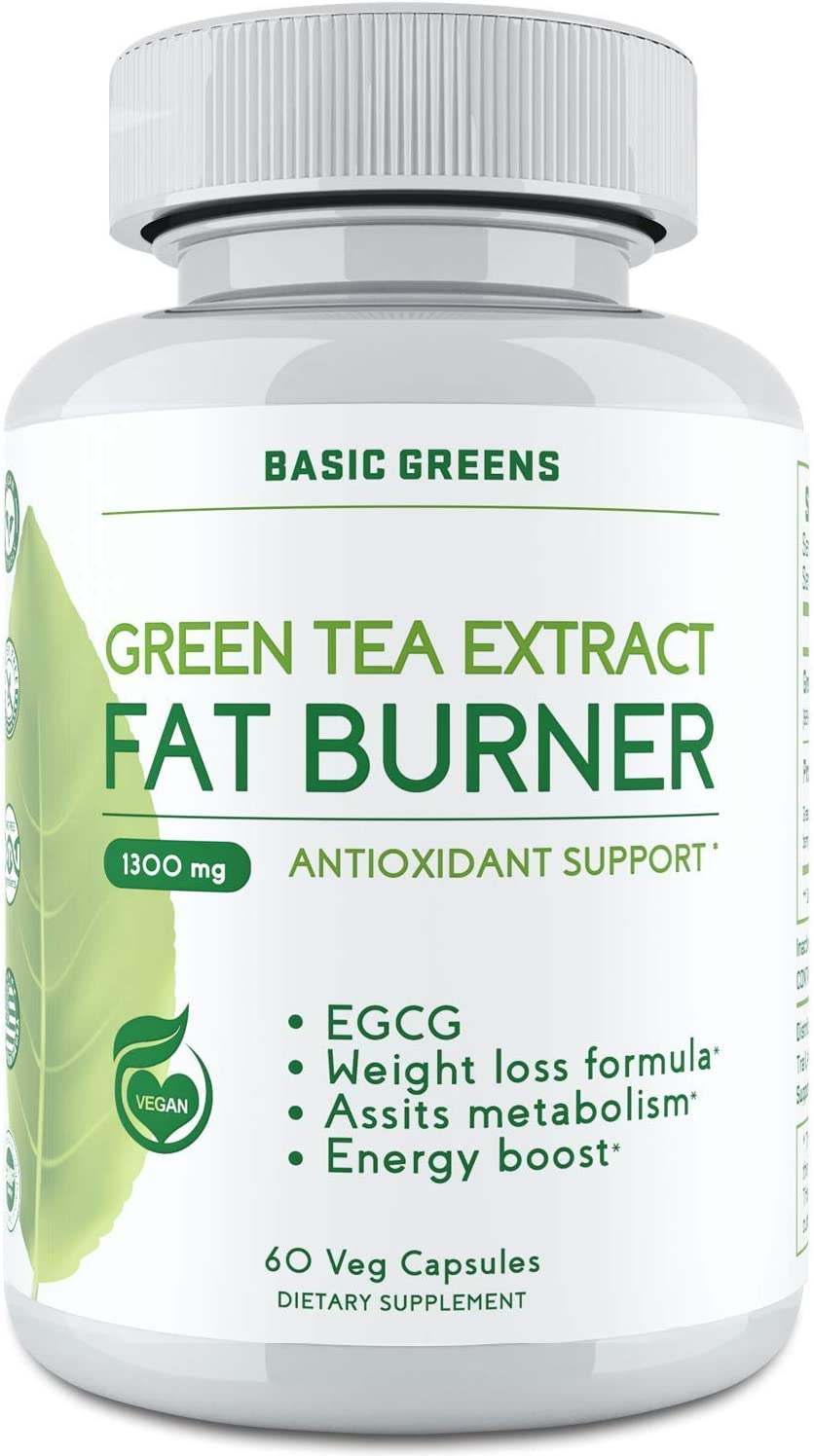 Green Tea Extract Pills for Women & Men - Wite EGCG, Garcinia Cambogia, Green Coffee Bean Energy Support, Antioxidant & Immune Booster Support, for Women & Men- (60 Capsules | 1300mg) by BASIC GREENS: Health & Personal Care