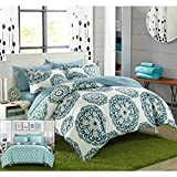 Purple Duvet Covers and Curtains Chic Home Ibiza 3 Piece Duvet Cover Set Super Soft Reversible Microfiber Large Printed Medallion Design with Geometric Patterned Backing Zipper Closure Bedding with Decorative Shams, King Green