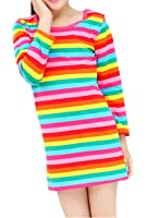 Eiffel Direct Girls Long Sleeve Casual Dresses Striped Rainbow Pullover Blouse Top