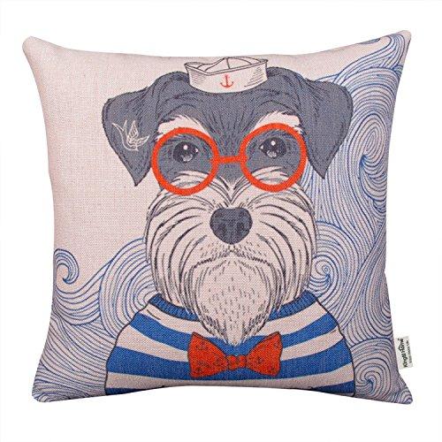 Kingla Home Cotton Linen Decorative Square Throw Pillow Covers Cute Sailor Dog Cartoon Pillowcases 18 x 18 Inch (Schnauzer Pillow)