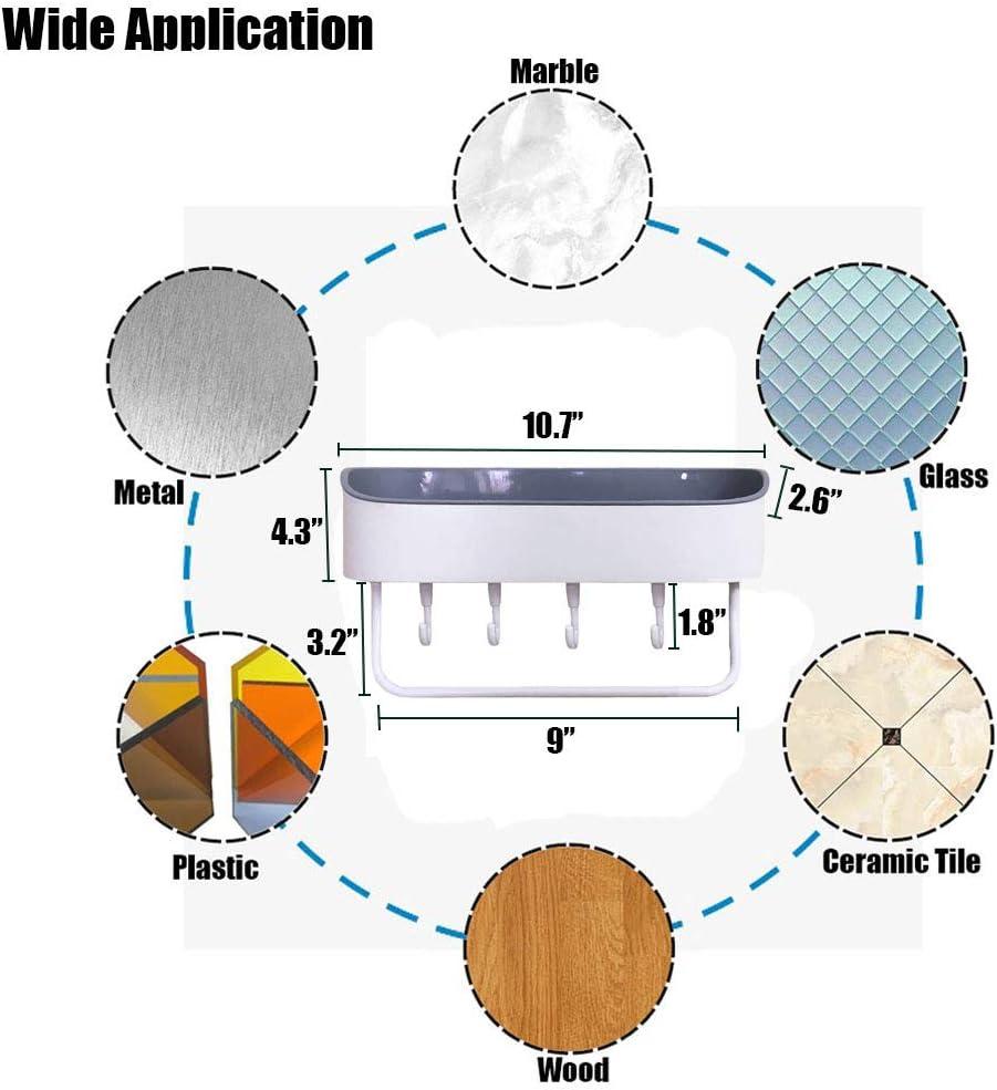 Plastik Wandh/ängend Duschregal Selbstklebender Duschablage Bad Duschwanne mit 4 Haken und 1 Handtuchstange Rack f/ür Badezimmer und K/üche Wei/ß Duschkorb Ohne Bohren