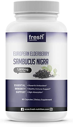Elderberry Immune Support Strongest DNA Verified 1800mg Sambucol Black Elderberry Easy to Swallow Elderberry Capsule