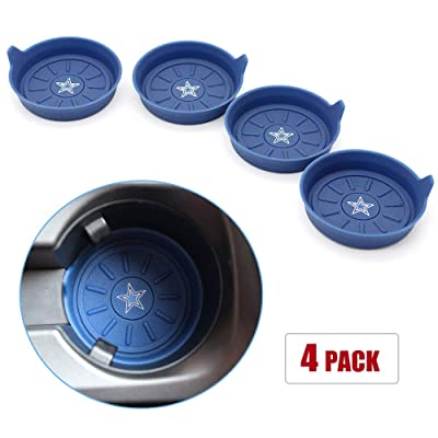 Fast & Furious 4PCS Car Cup Holder Coaster for Dallas Cowboys, 2.75 Inch Car Interior Accessories Durable Non Slip Silicone Logo Cup Coasters for All Vehicles (Blue): Automotive