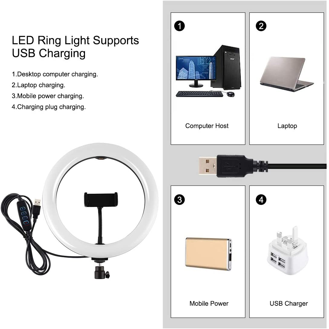 10.2 inch USB 3 Modes Dimmable LED Ring Vlogging Video Light Kits with 1.65m Adjustable Tripod Stand and Phone Clamp for Live Stream PULUZ Ring Light Kit Makeup YouTube Video