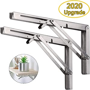 Folding Shelf Brackets 20 Inch, Heavy Duty Stainless Steel Foldable Wall Mount Shelf-Bracket, Suitable for DIY Various Space-Saving Work Bench with Install Screws.Pack of 2