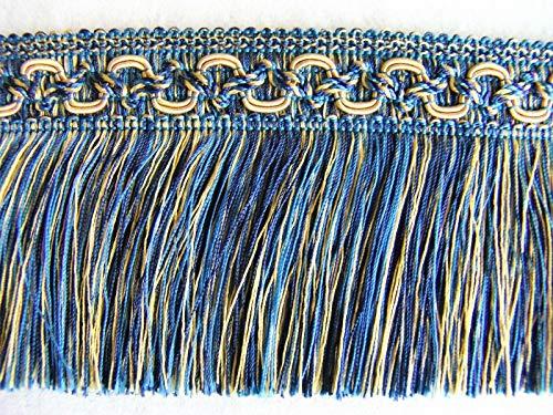 Cut Brush Fringe (Blue/Gold by The Yard ~ Beautiful 3 1/2