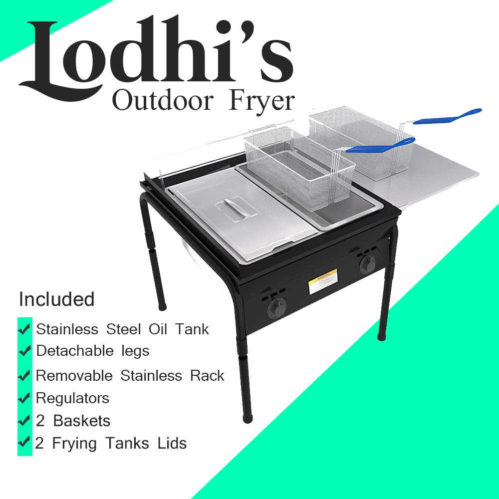 Lodhi's Heavy Duty Taco Cart Two Tank Double Deep Fryer Compatible with Propane Gas Tanks, with 2 Baskets & Stainless Steel Oil Tank by Lodhi's (Image #5)