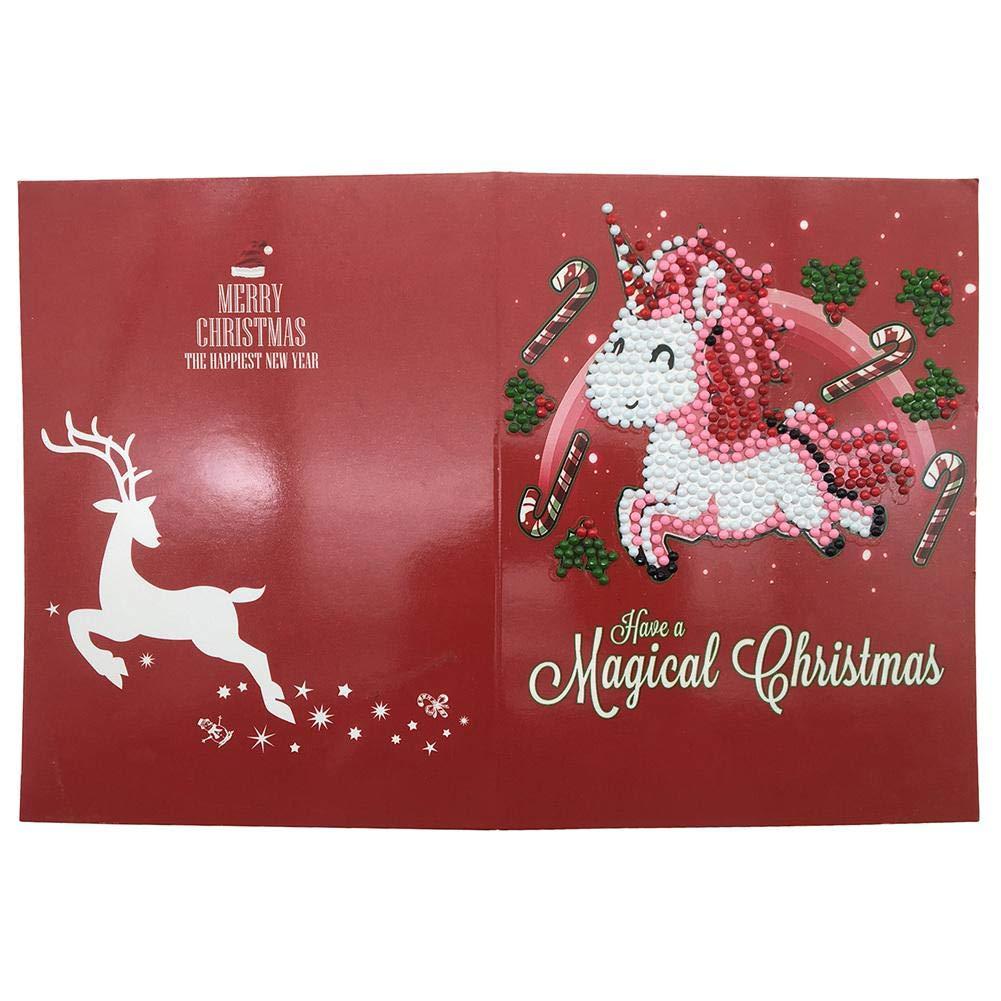 Bulary 5D Diamond Painting Christmas Greeting Card Cartoline fatte a mano di Buon Natale Carta fatta a mano Modello carino Babbo Natale Cervo Grazie Card
