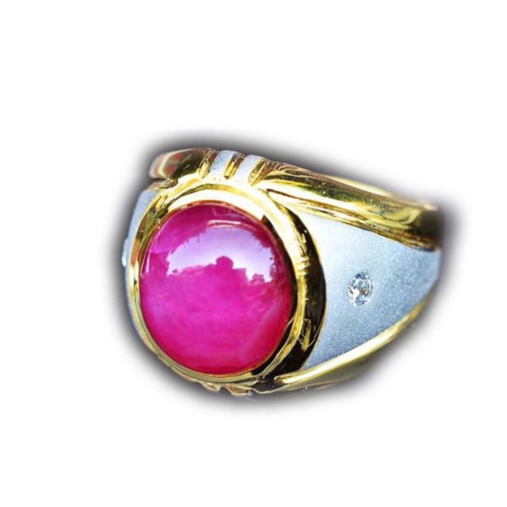 41.90ct Natural Cabochon Red Ruby 925 Gold Silver Ring 7.75US Madagascar #R