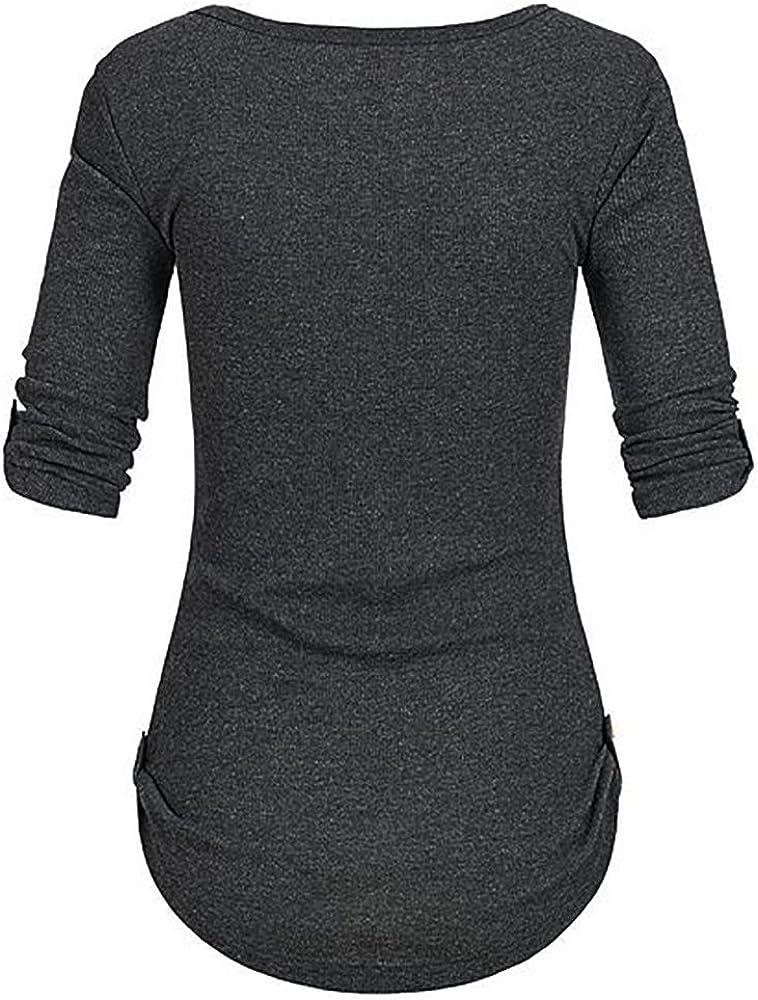 LISTHA Crewneck Henley T Shirt Women Solid Long Sleeve Button Blouse Tops Pockets