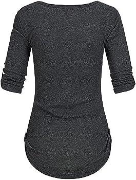 Camiseta Manga Larga de Mujer Color sólido Elegante Color sólido Botón Blusa Blanco Camisa Basica Camiseta Otoño Tops Casual Fiesta T-Shirt Original Chaqueta vpass: Amazon.es: Ropa y accesorios