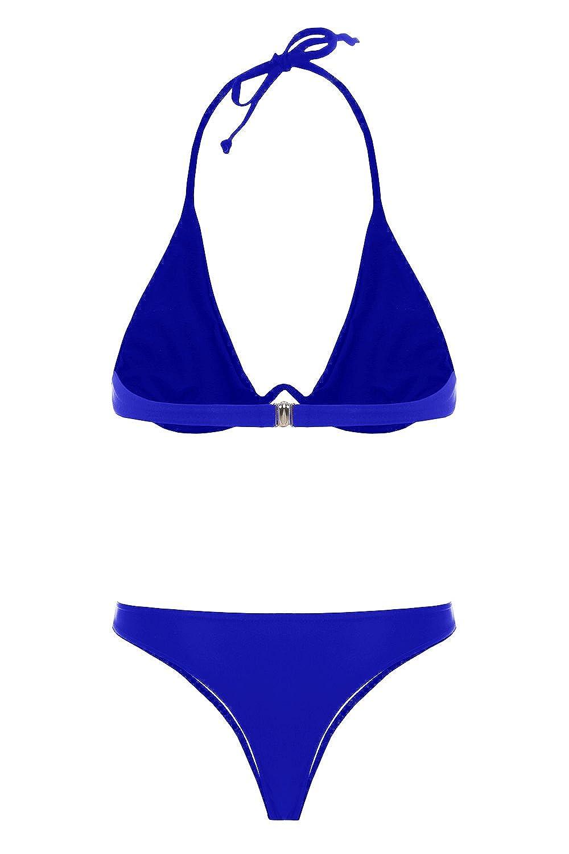 46ea4f72d2e Amazon.com  Imysty Womens Swimsuits Bikini Two Pieces Halter Neck Triangle  Thong Swimwear Bathing Suit  Clothing