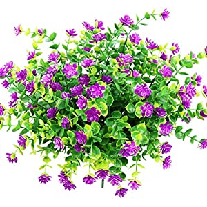 YOSICHY Artificial Flowers, Fake Outdoor UV Resistant Plants Faux Plastic Greenery Shrubs for Outside Hanging Planter Home Kitchen Office Wedding Garden Decor(Fushia) 1
