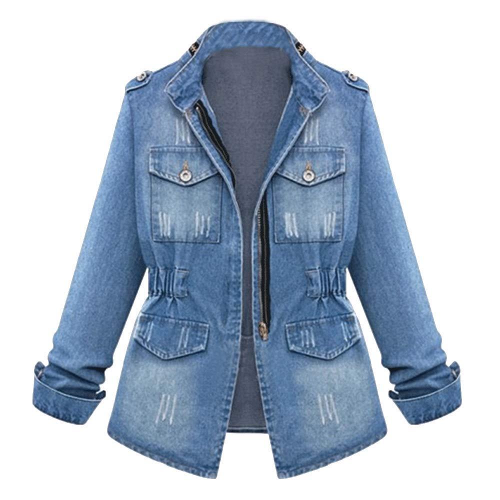 Women's Denim Jacket Casual Slim Fit Long Sleeve Loose Trucker Coat Outerwear Top Jeans Outercoat Windbreaker Light Blue Tag 4XL-US XL